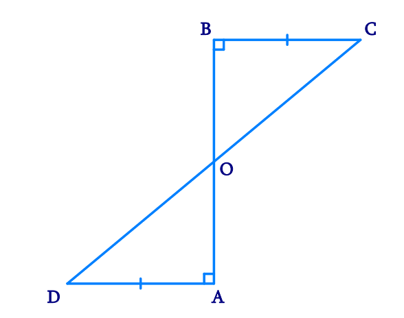 AD and BC are equal perpendiculars to a line segment AB (see Fig. 7.18). Show that CD bisects AB.