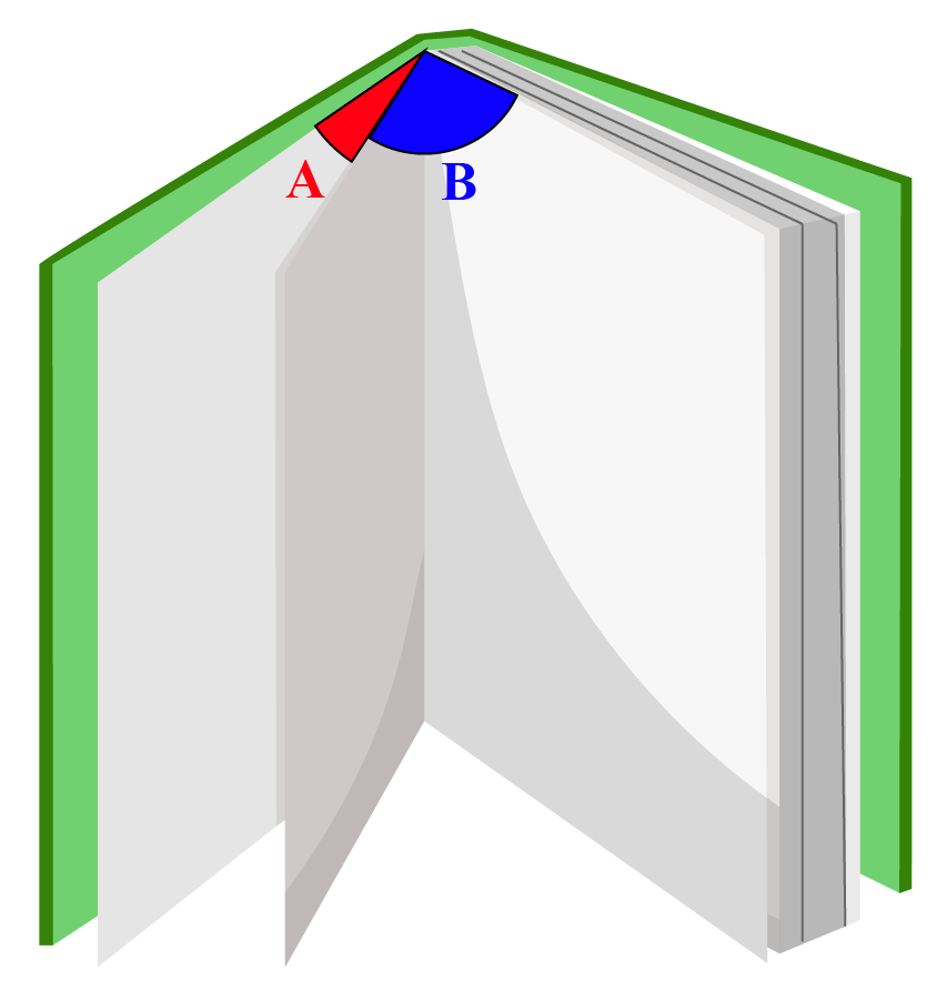 Adjacent pair of angles in book