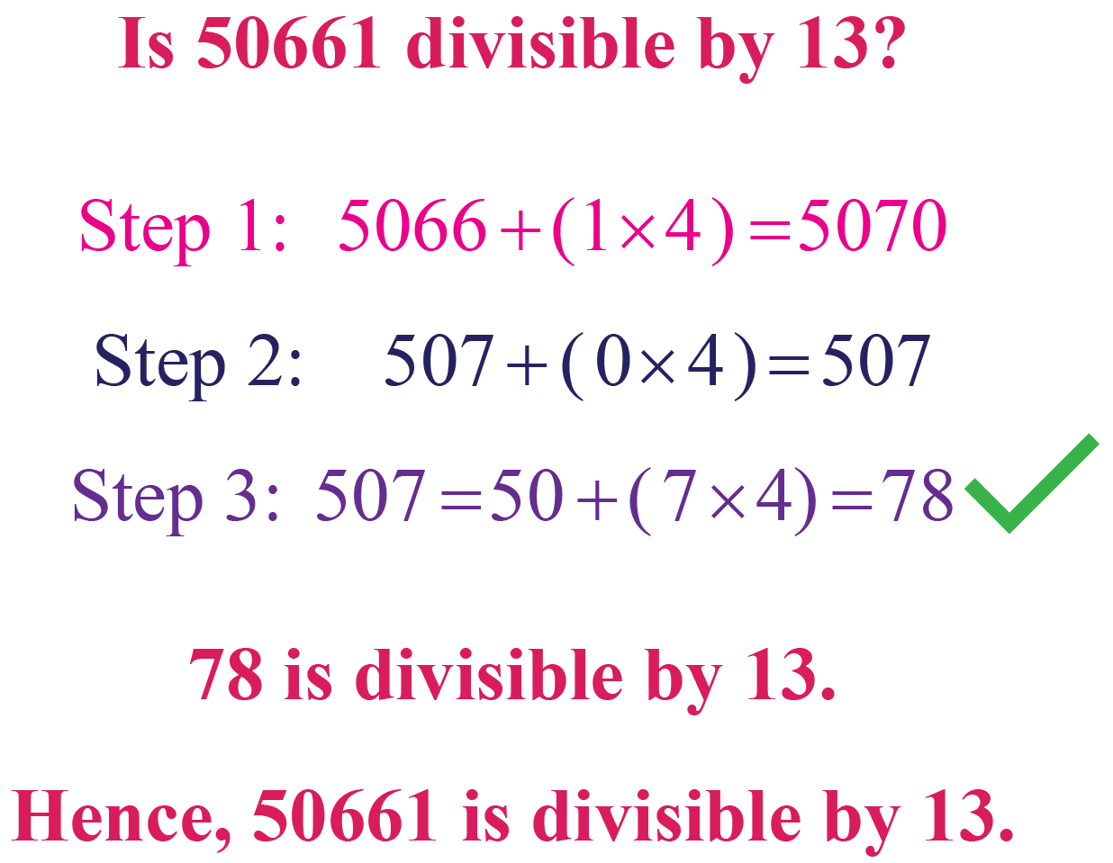 Example: Divisibility by 13