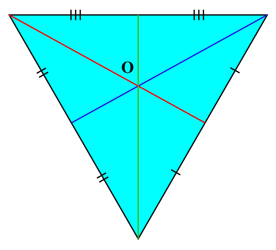Triangle with three medians and center point O