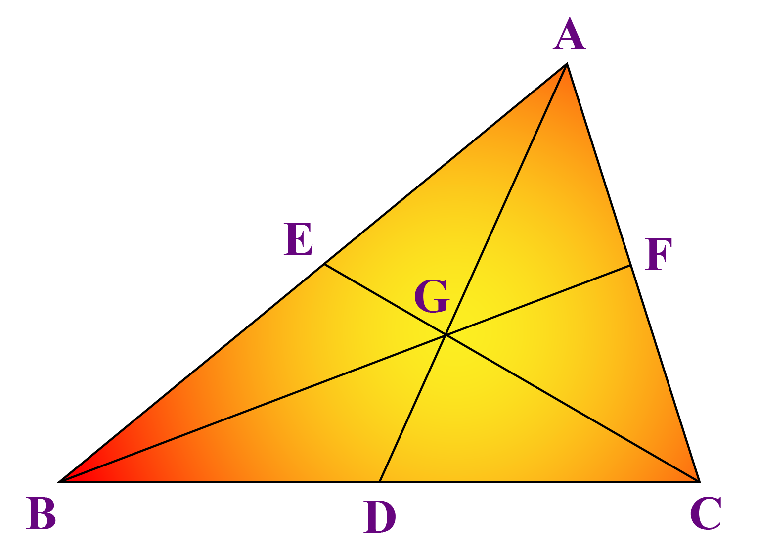 Triangle with three medians and centroid G