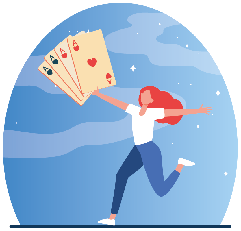 Girl won the game of cards with aces
