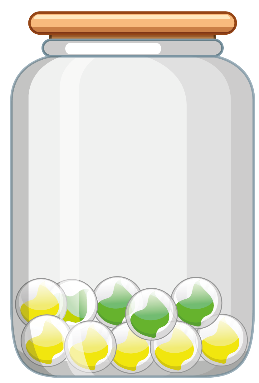 6 yellow and 4 green marbles