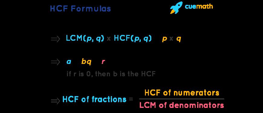 HCF Formulas