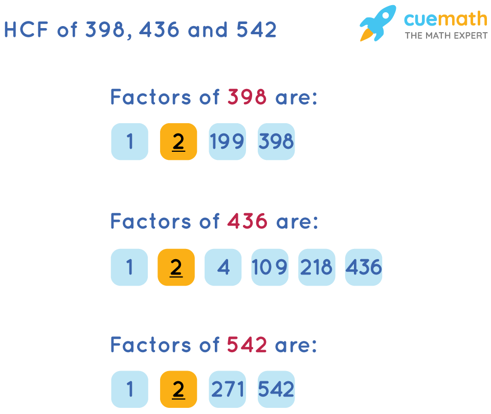 HCF of 398, 436, and 542