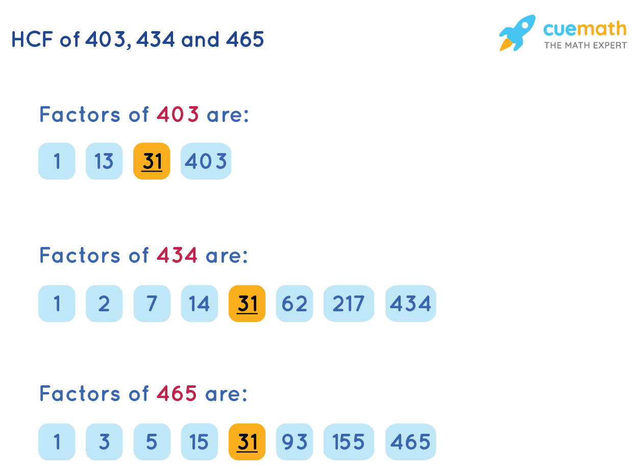 HCF of 403, 434, and 465