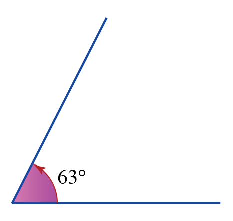 Acute angle definition: angles less than 90 degrees and greater than 0 degrees. Example: An angle that measures 63 degrees