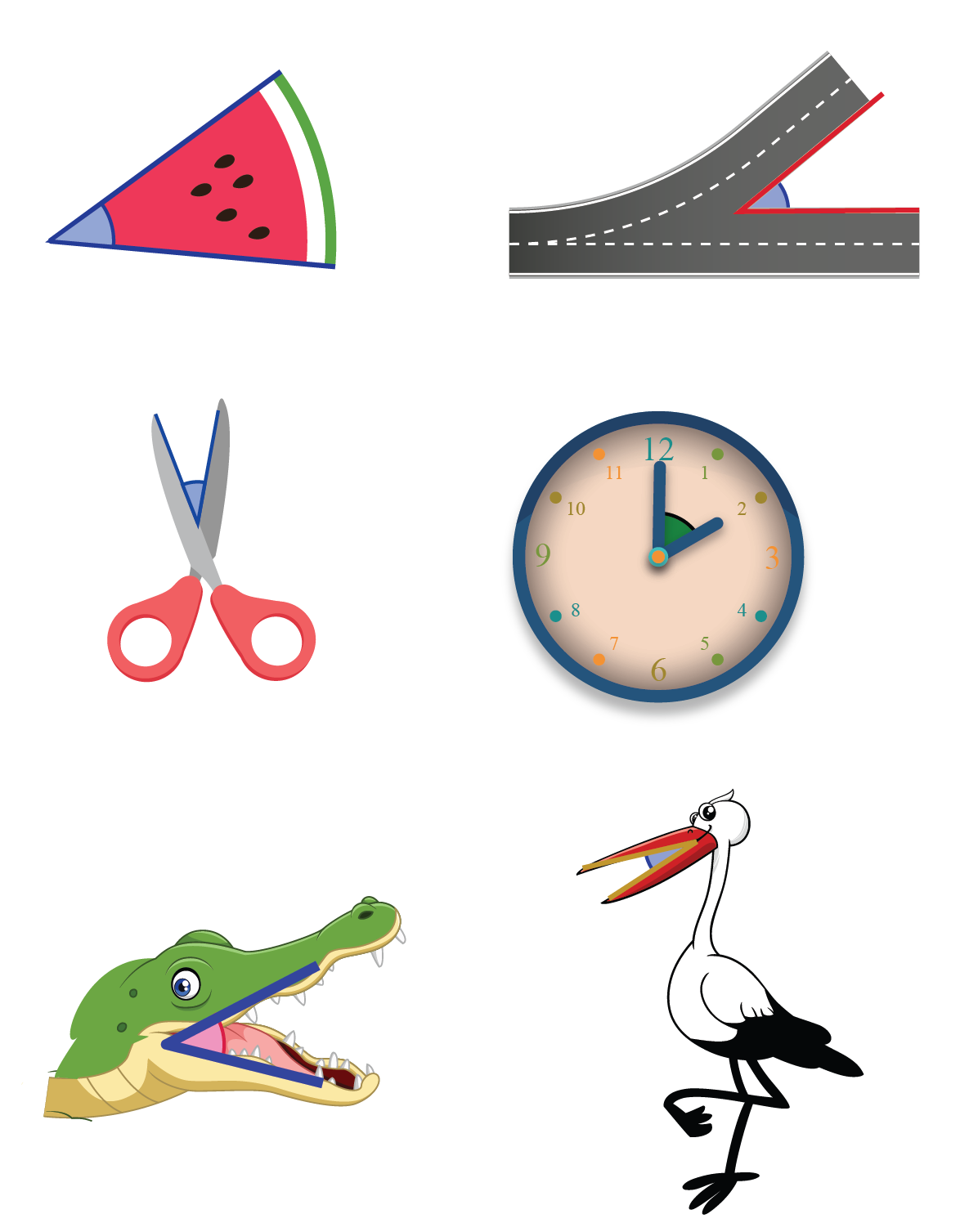 Acute angle real life examples such as a slice of watermelon, a crocodile mouth, a bird's open beak, an open pair of scissors and so on.