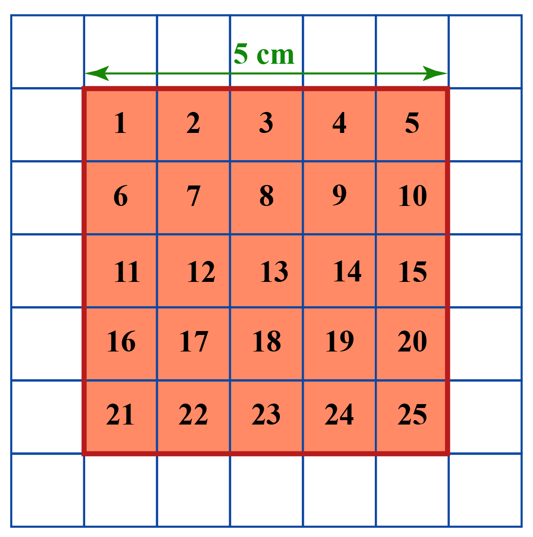 Area of a square - There is an orange square within another square. The orange square is further divided into 25 square units with numbers written inside each of the individual units.