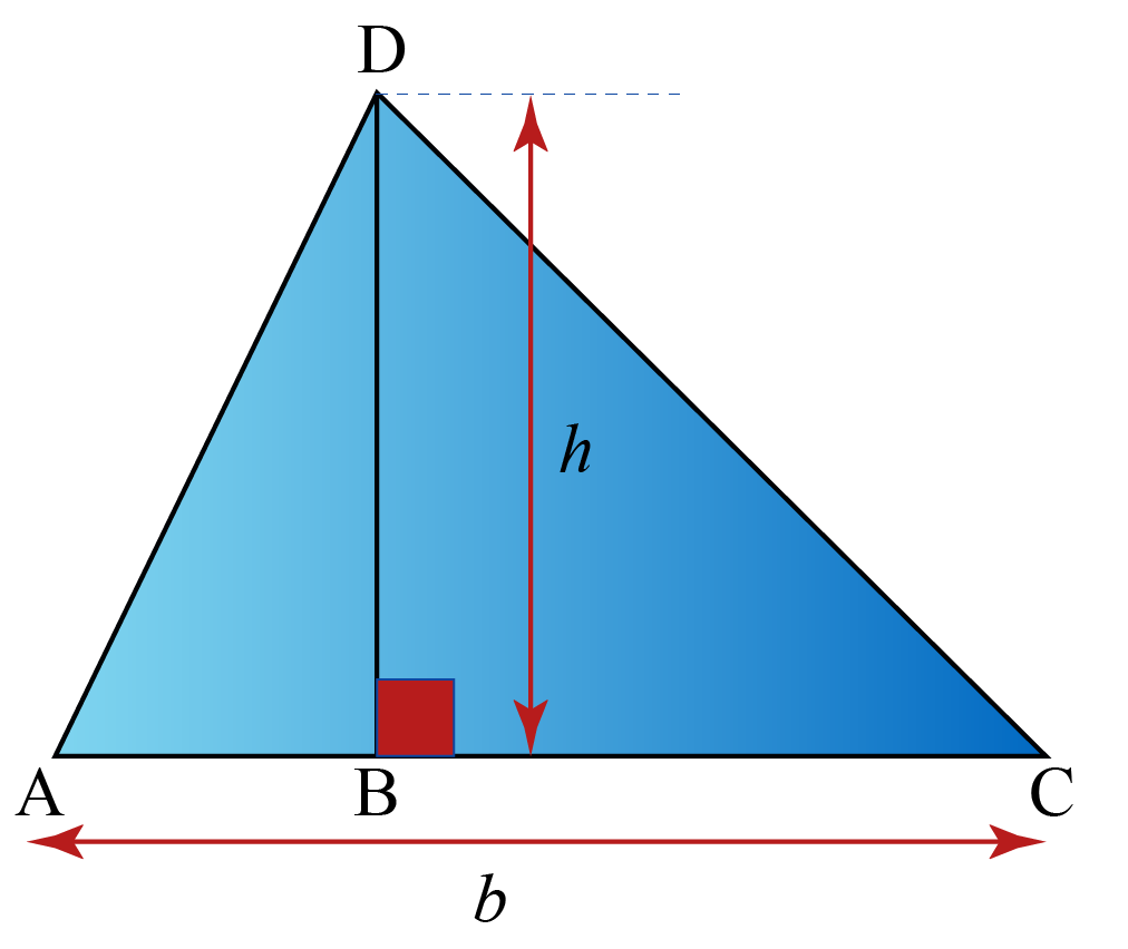 Area of triangle formula is shown using a triangle with height h and base b.