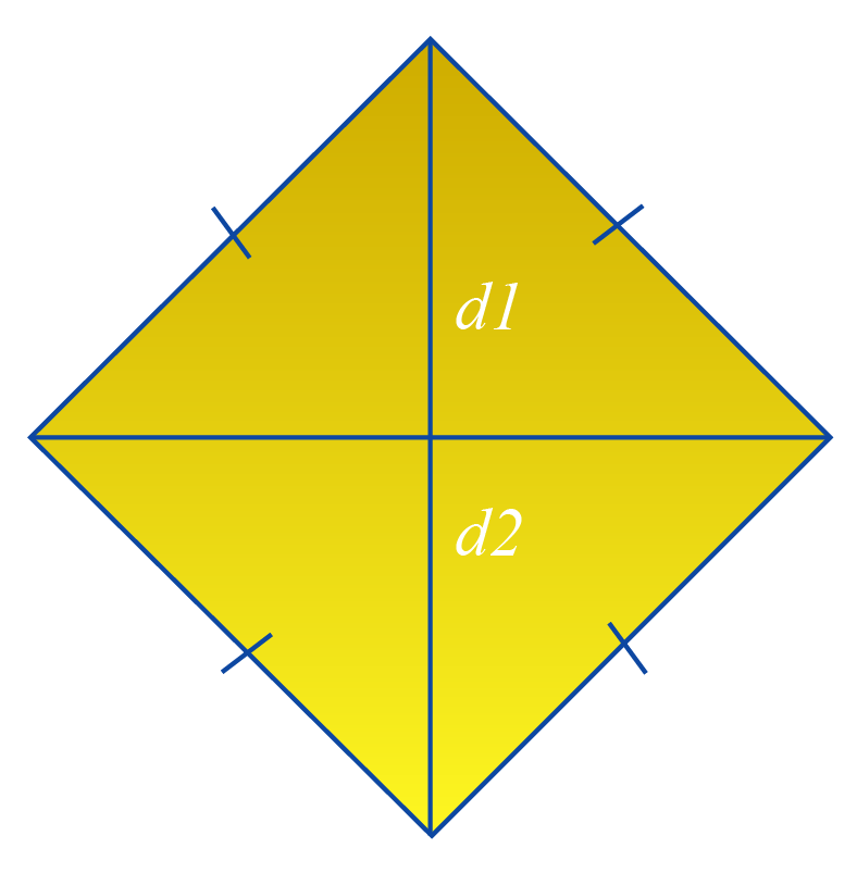 Areas of shapes: area of a rhombus formula