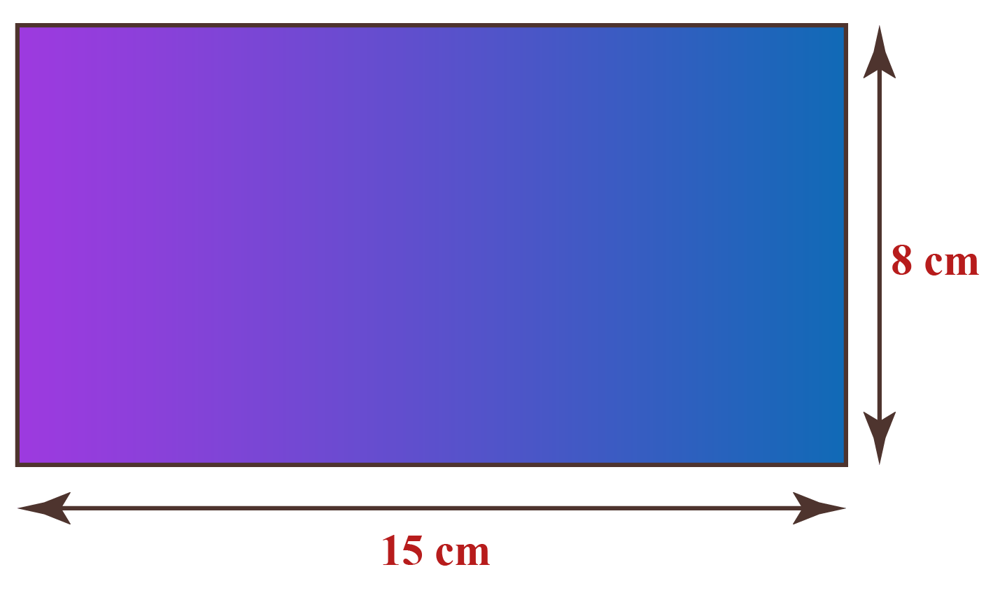 Solved example: Find the area of a rectangle of sides 15 cm and 8 cm.