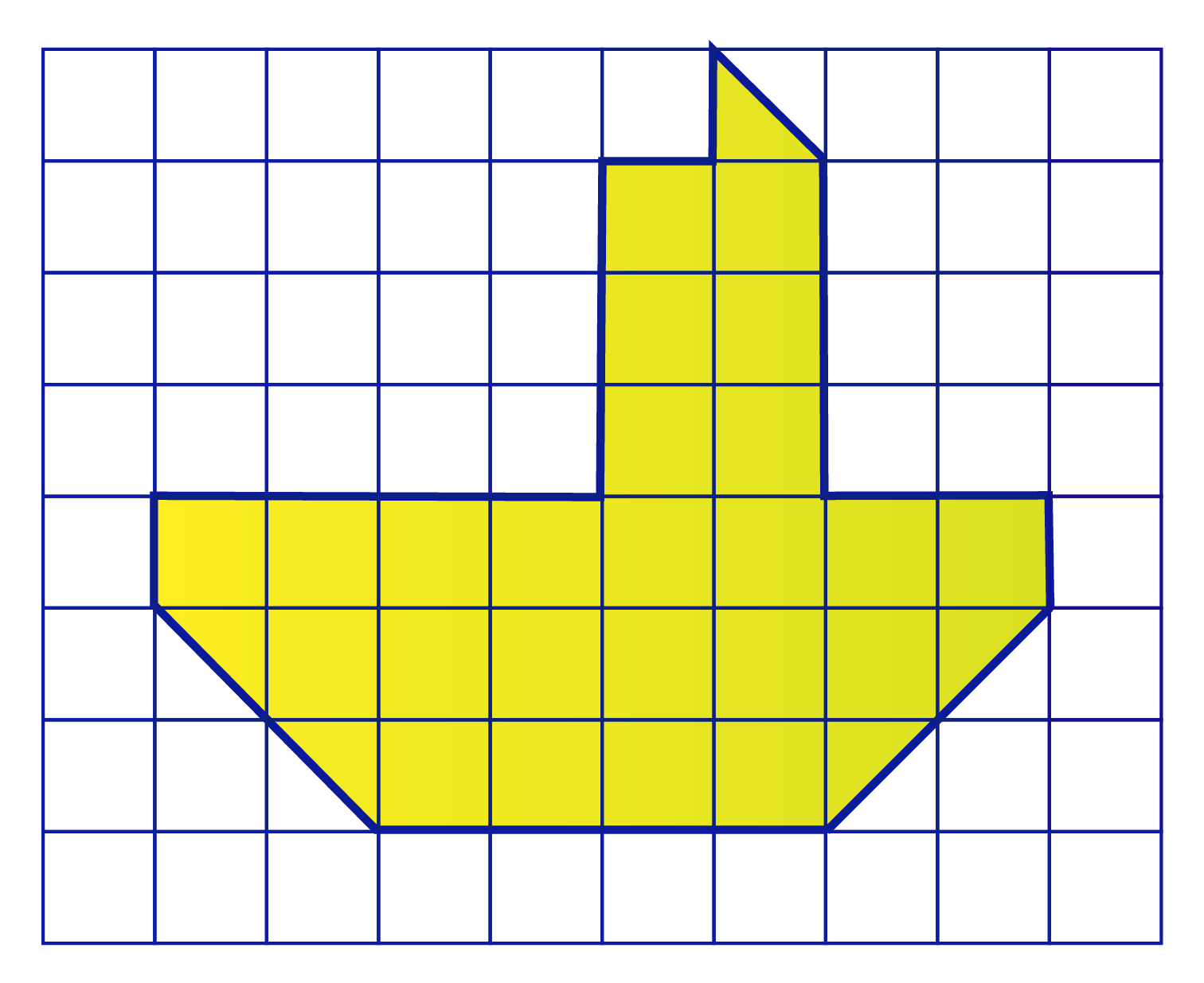 count the squares in the grid and find the area of the shape