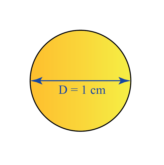 A circle of diameter 1 centimeter