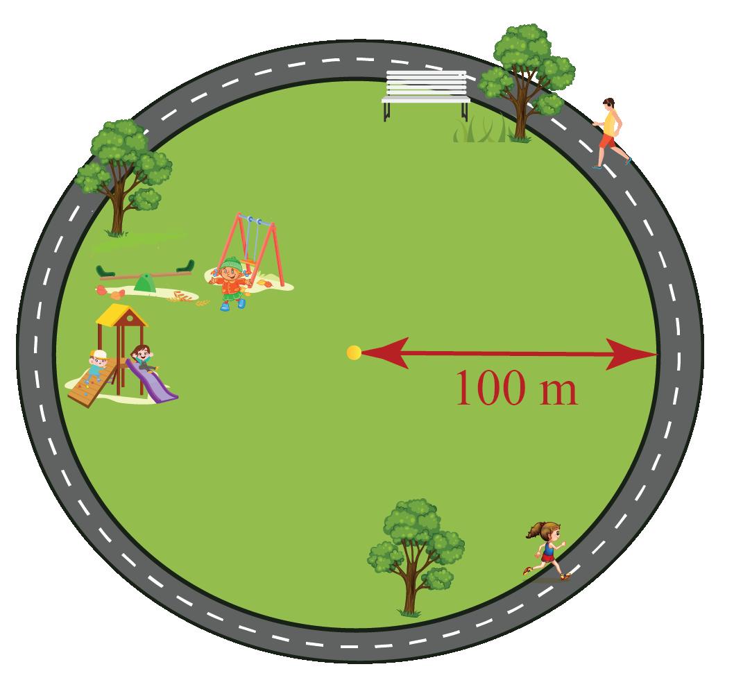 a circular park of radius 100 meter