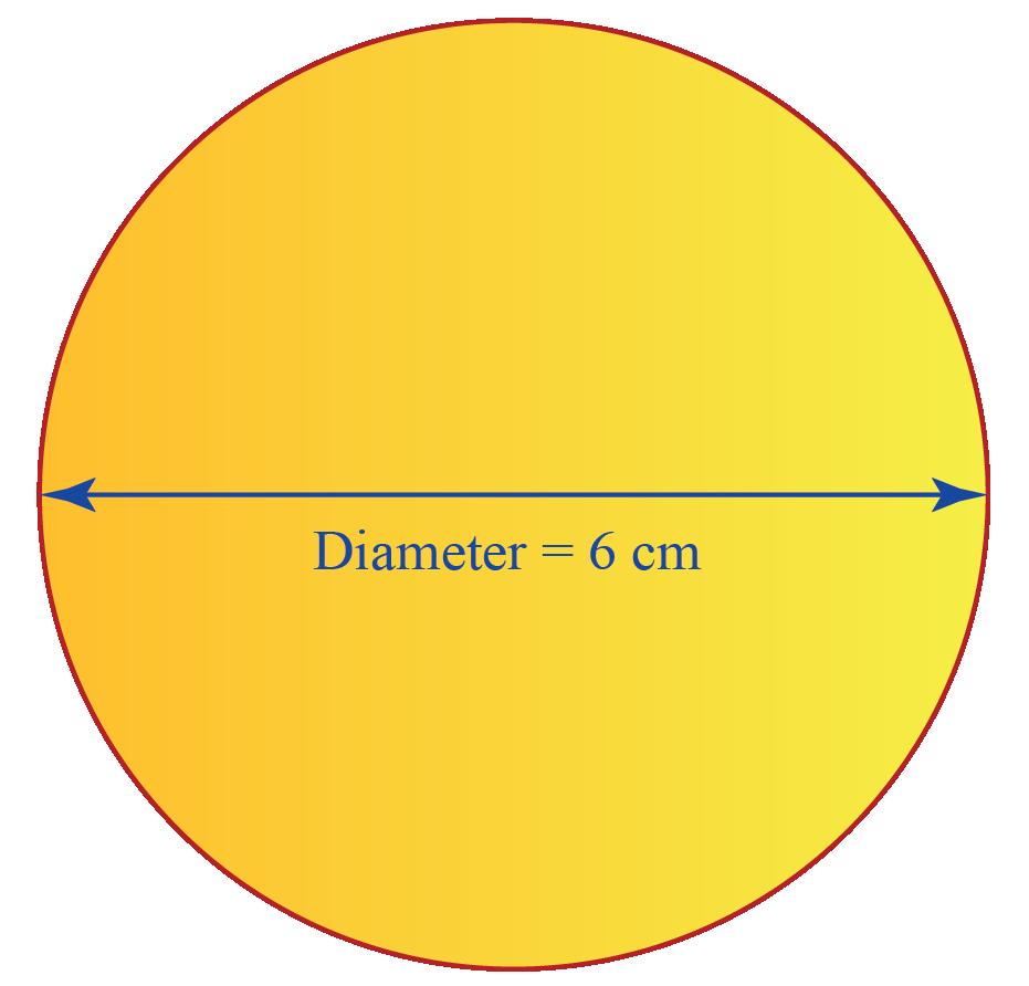 A circle of diamter 6 centimeter