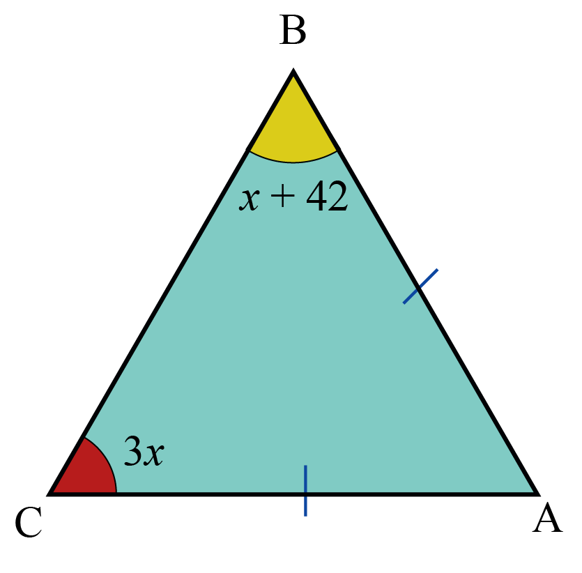 two base  angles of an isosceles triangle are 3x and 2x plus 42. Find the vertex angle