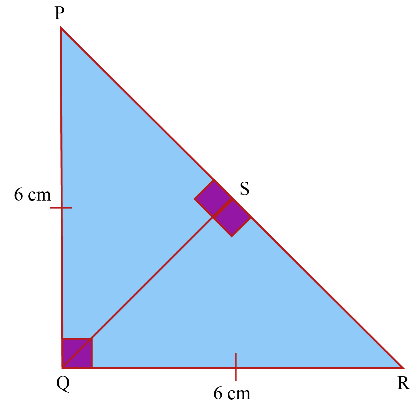 RIght isosceles triangle solved example