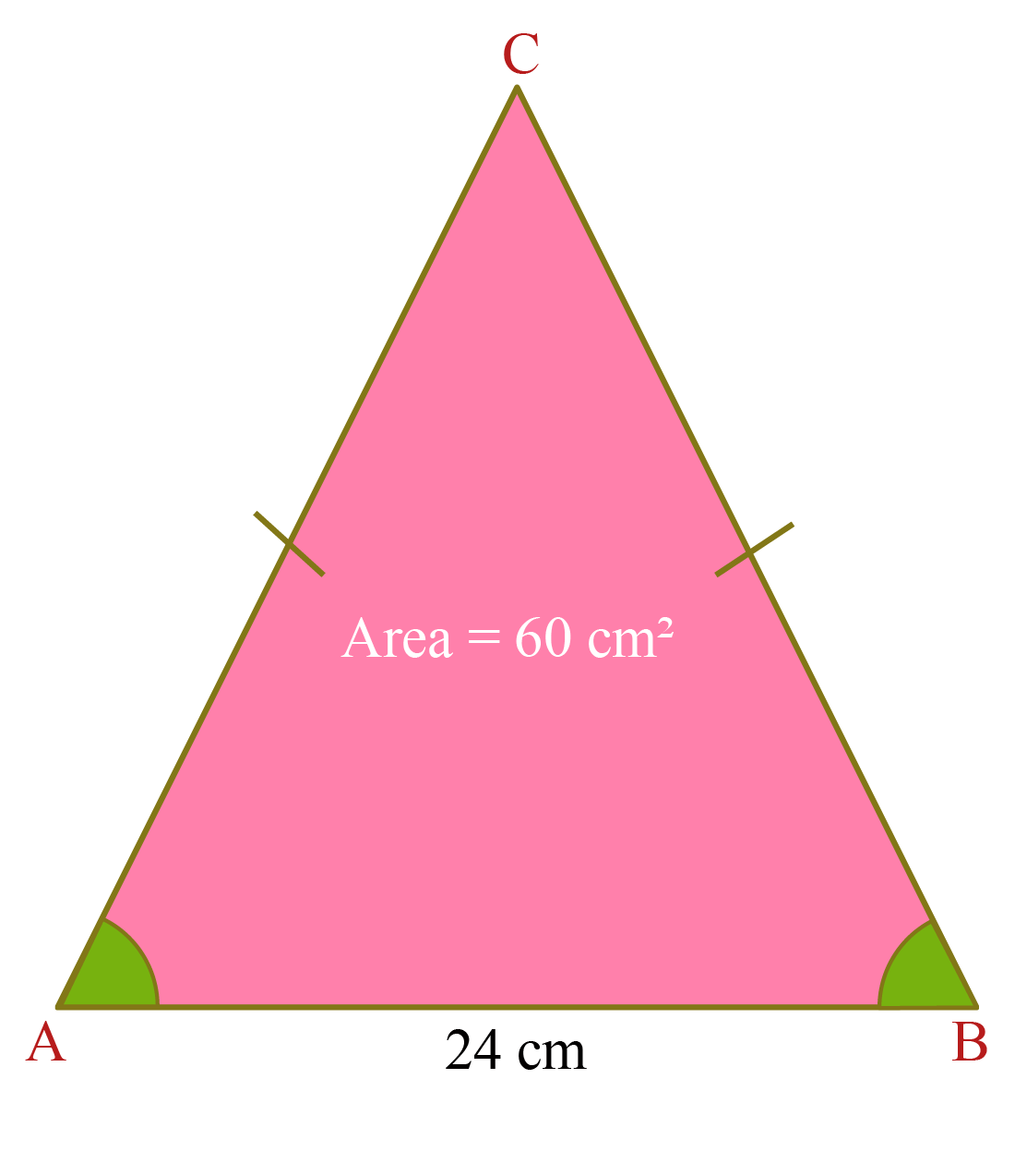 Isosceles triangle solved example