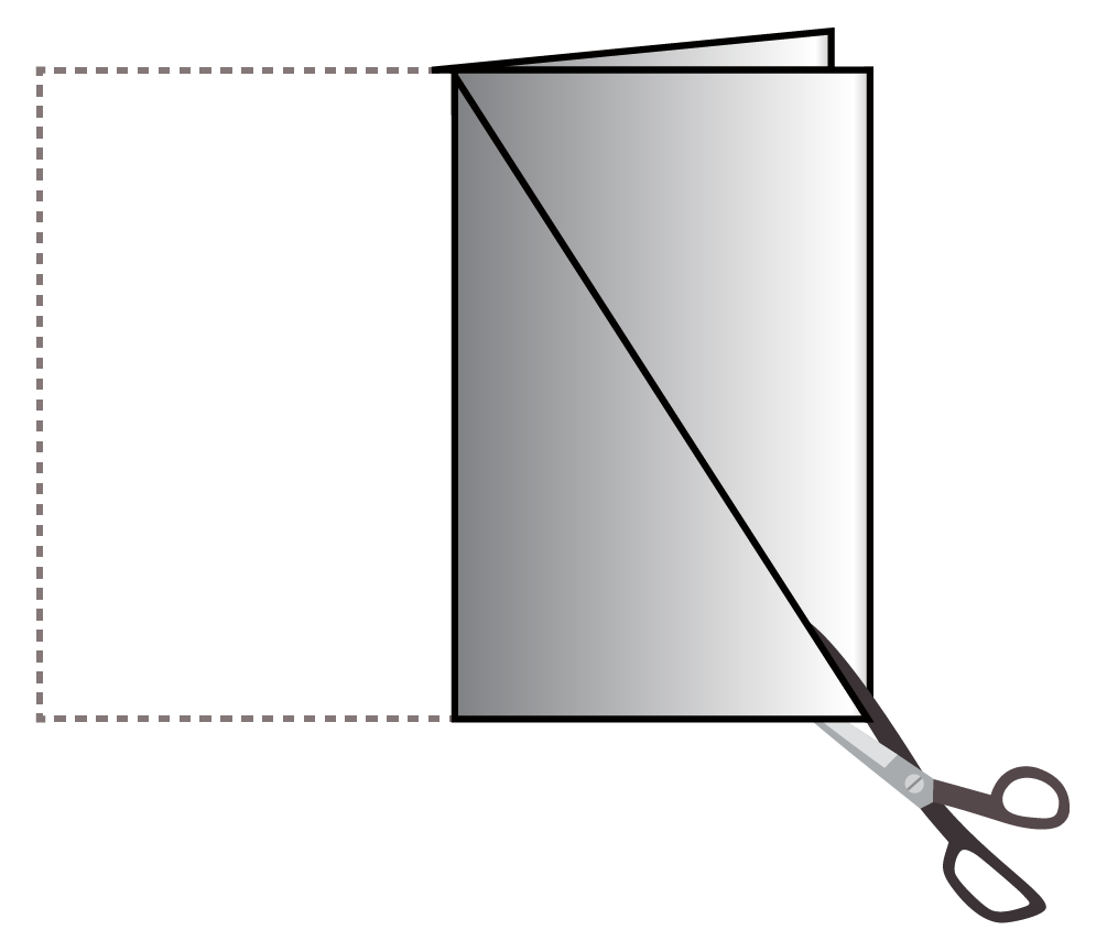 Isosceles triangle definition is explained by creating a model of an isosceles triangle by folding a rectangular-shaped paper.