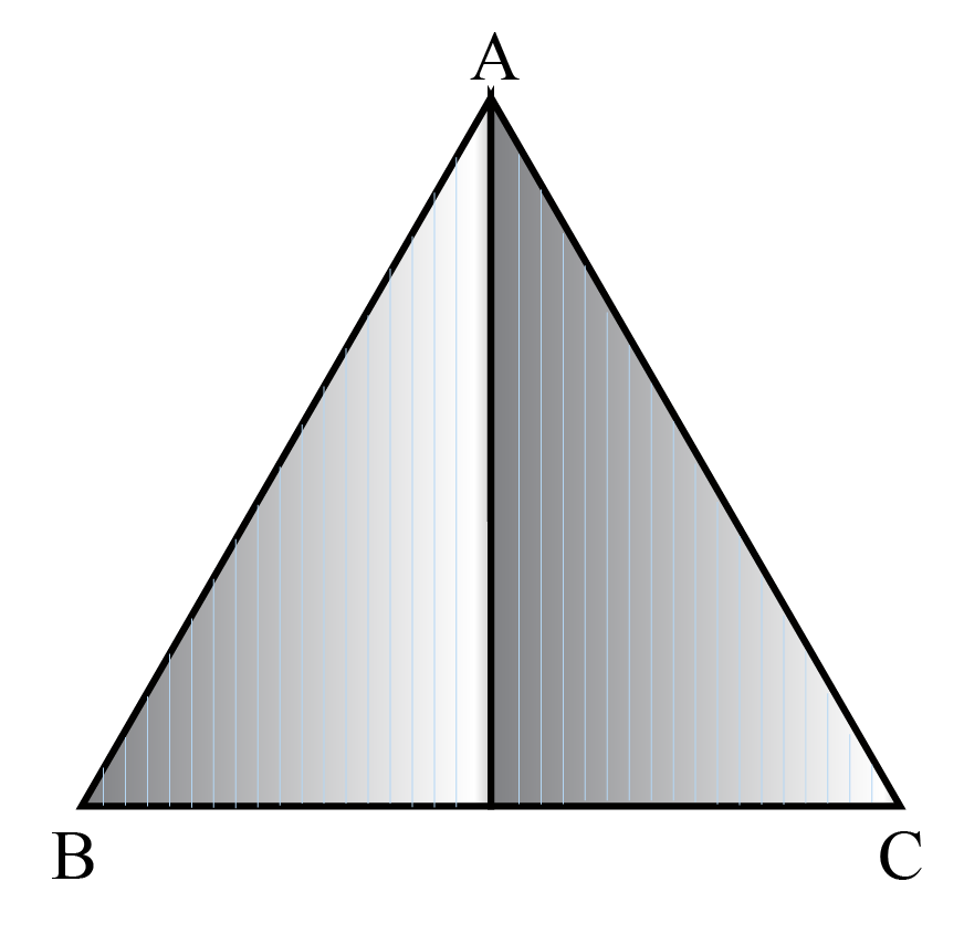 The isosceles triangle definition is explained using a model of an isosceles triangle by folding a rectangular sheet of paper.