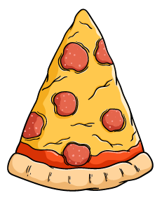 A slice of pizza is shown as an example of an isosceles triangle.