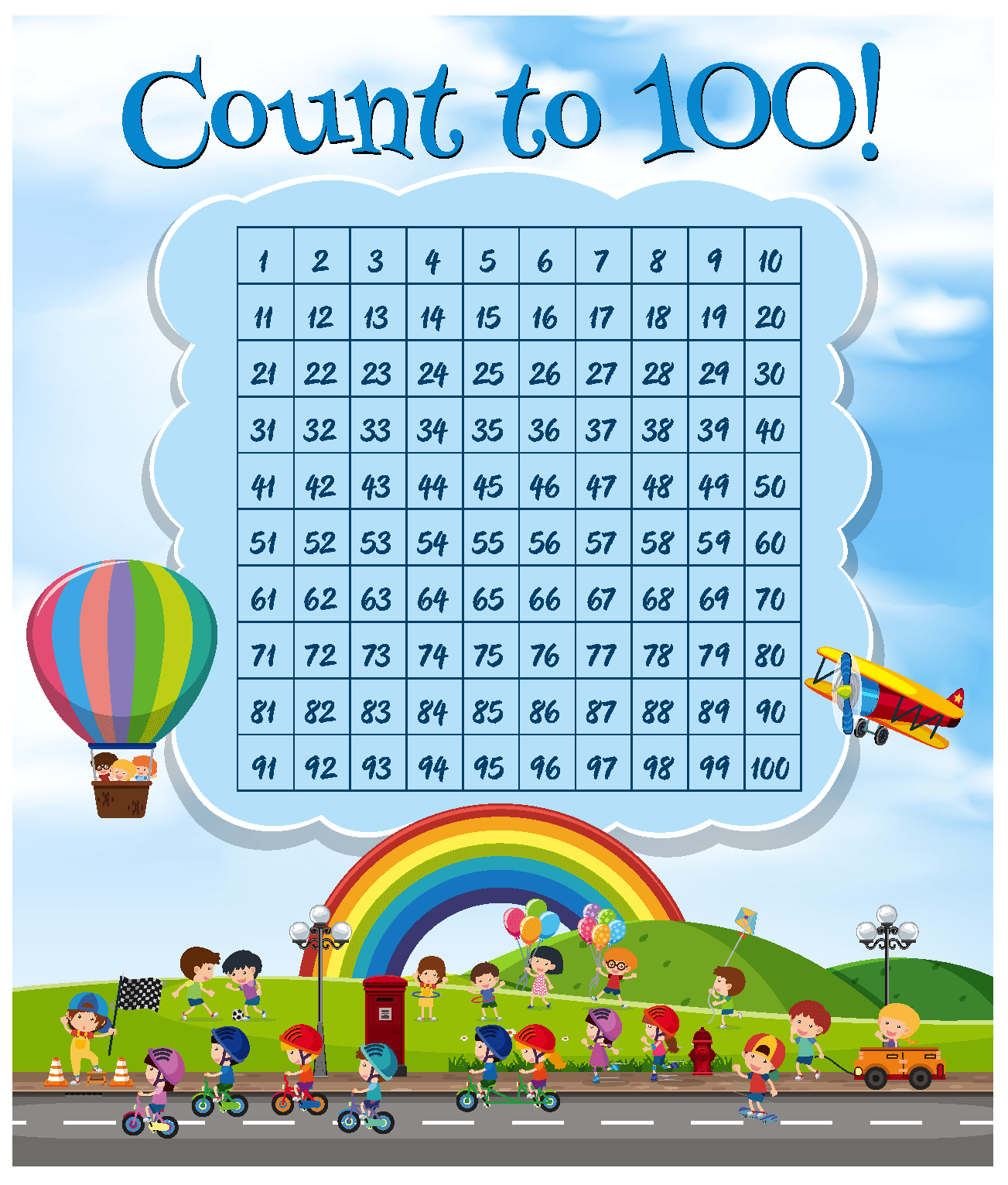 Math number count to 100 Premium Vector