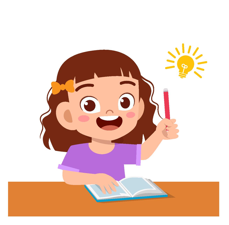Happy cute kid girl study hard think Premium Vector