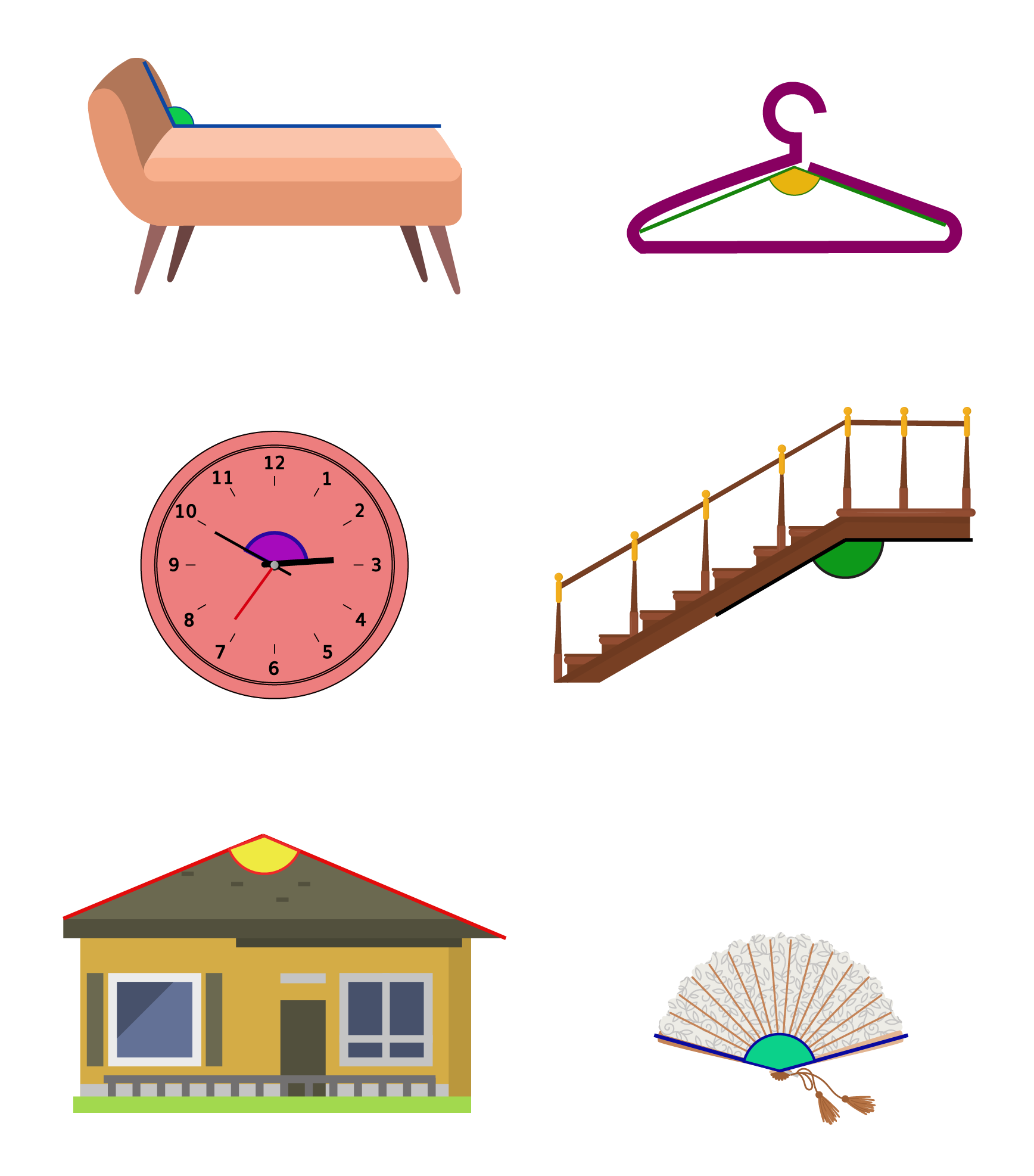 Real life obtuse angle examples: A sofa, a staircase, a roof, a wall clock, a hand fan, a cloth hanger