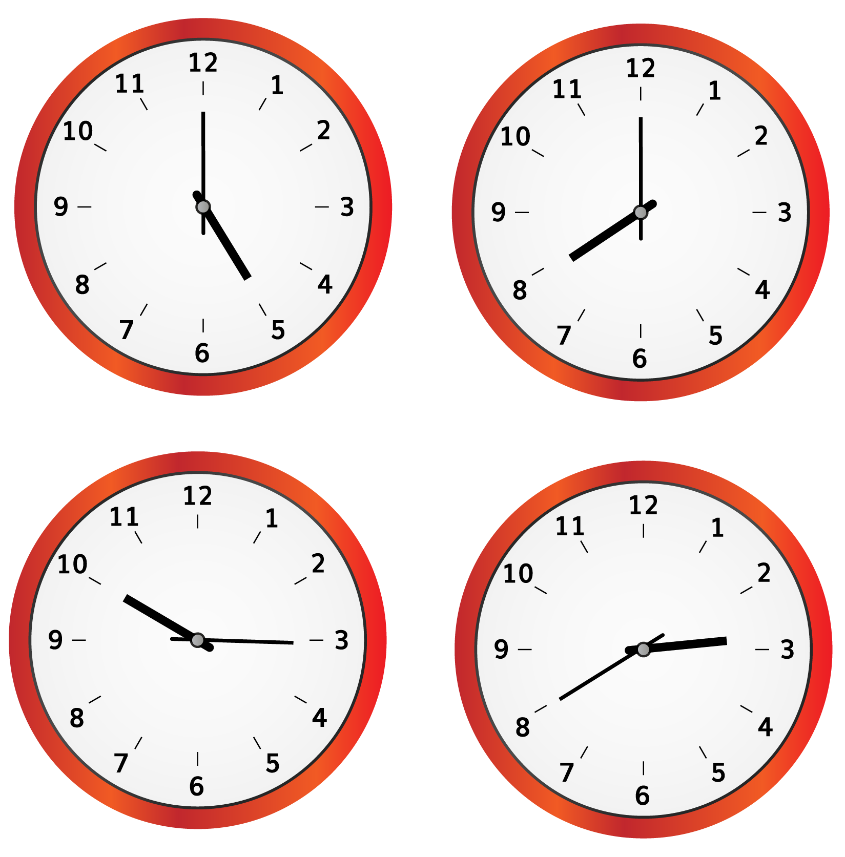 angle formed on a wall clock