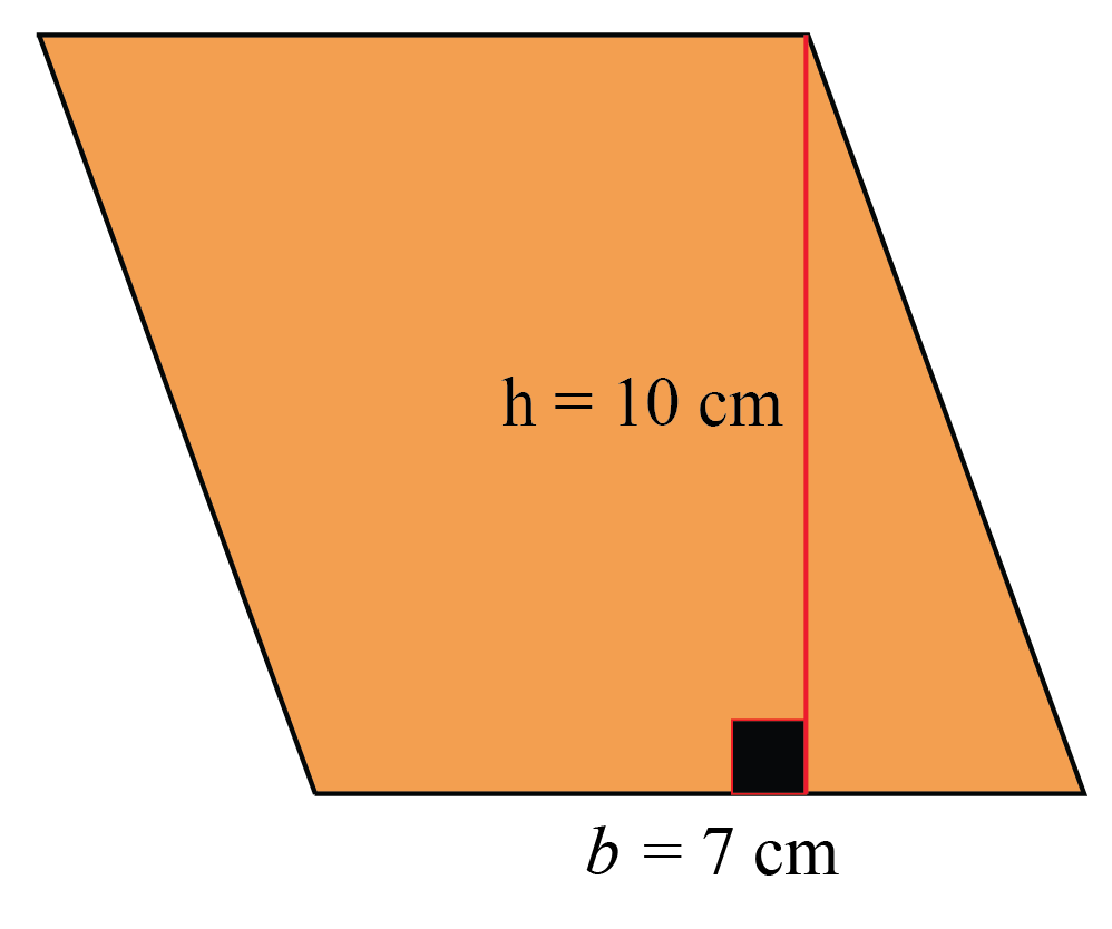 Parallelogram area is the product of its height and base. The base is 7 cm and the height is 10 cm.