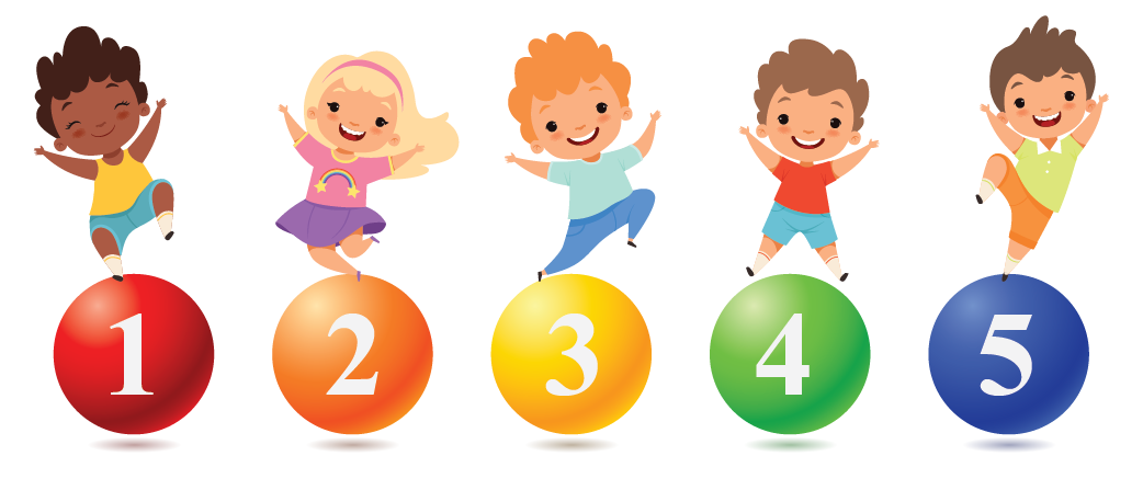 group of kids on numbers