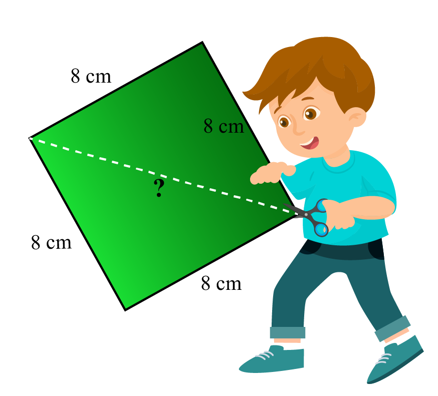 A boy holding a square kite of side 8 cm