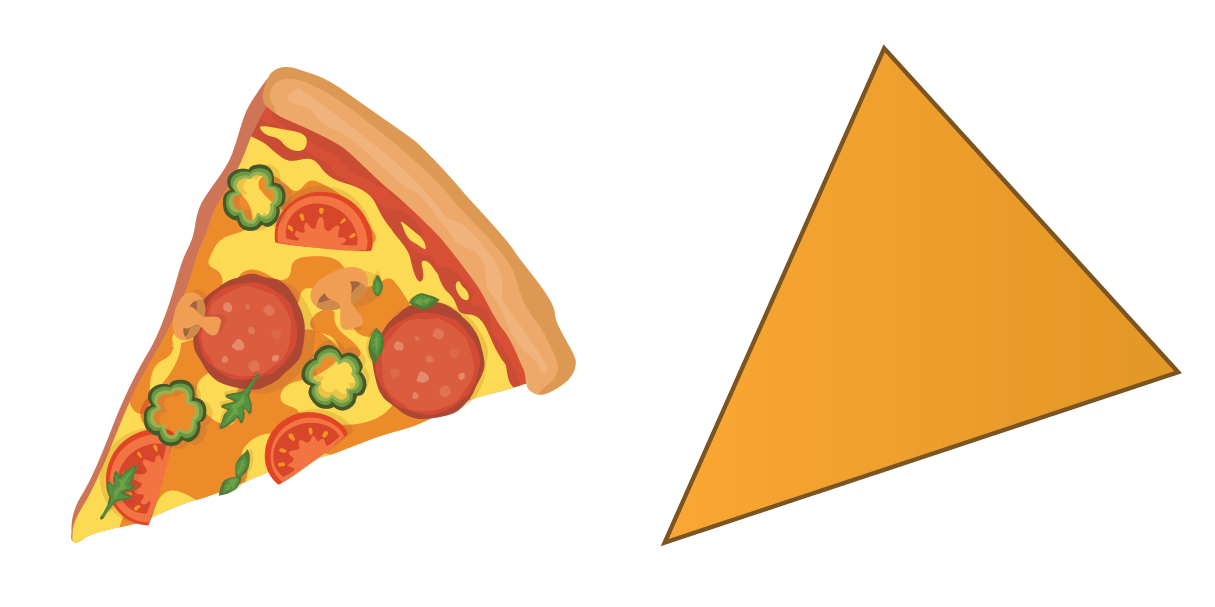 A slice of pizza in triangular in shape