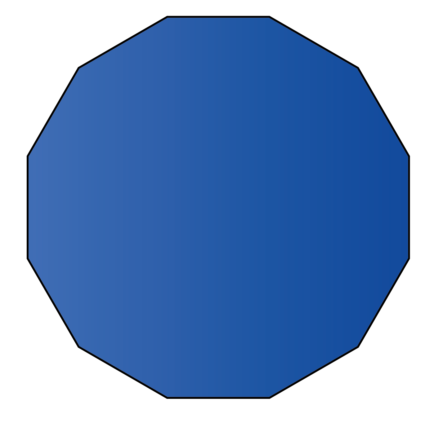 A dodecagon twelve sided polygon