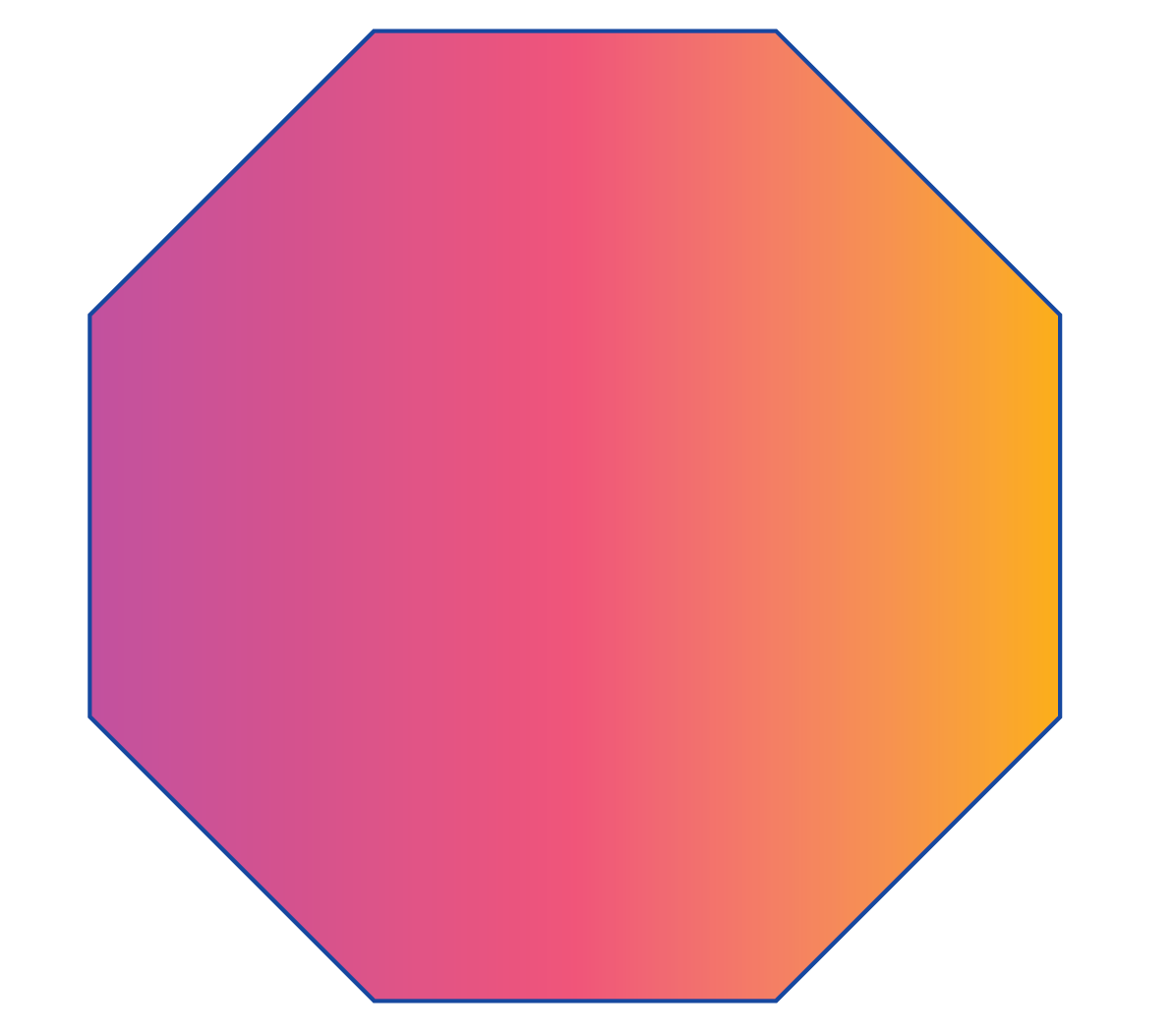 An octagon is a 2D shape