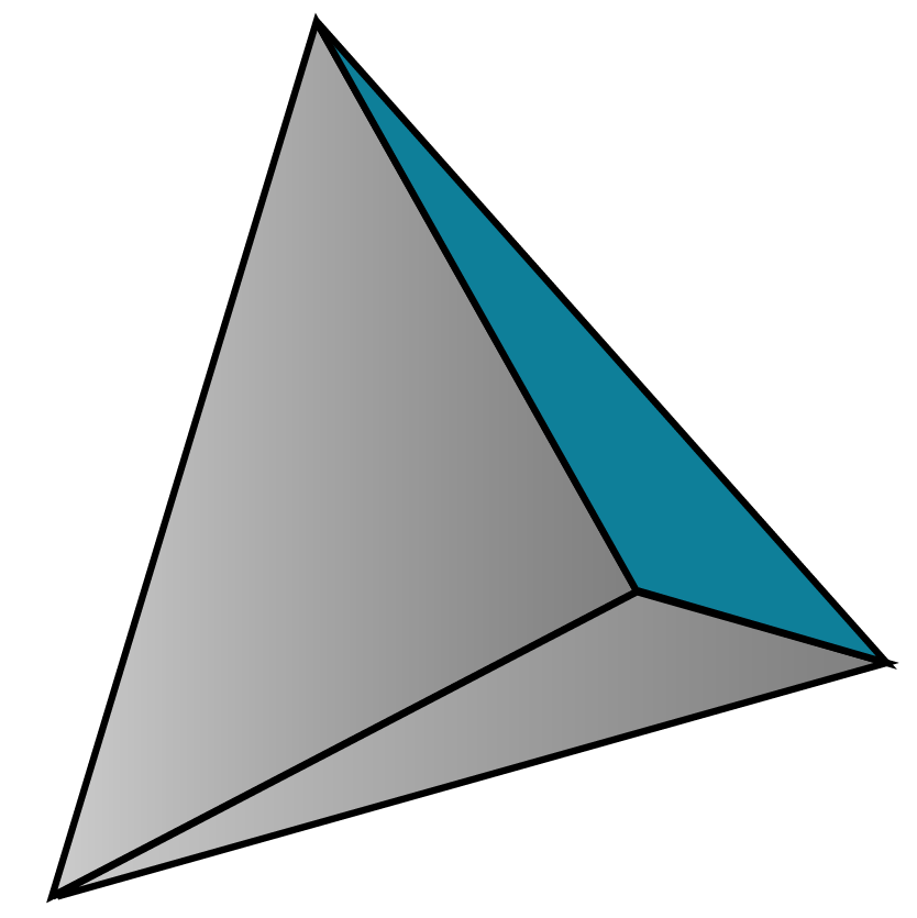 A tetrahedron - a solid shape made with 4 triangles