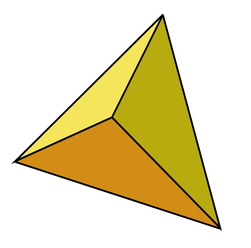 A regular tetrahedron - all 4 sides are equilateral triangles