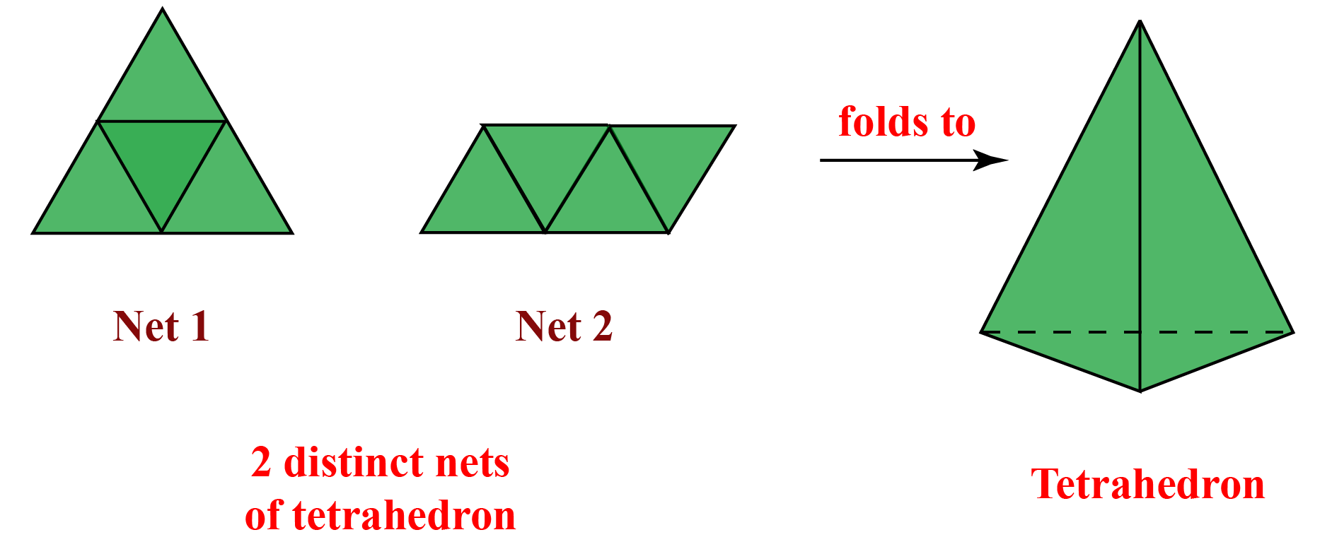 Nets of a tetrahedron folding to a solid shape