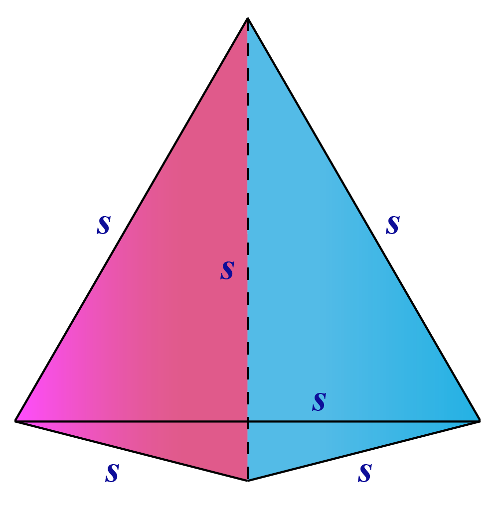 Formulas of tetrahedron - A tetrahedron with sides s is shown.