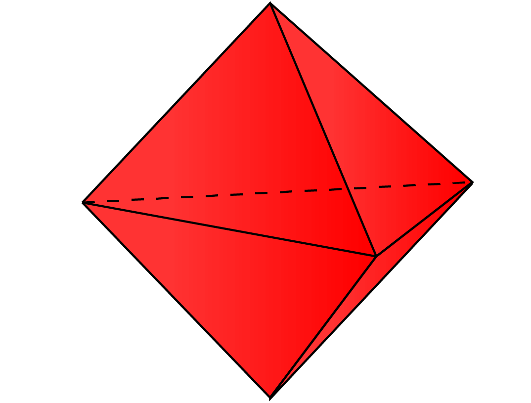 A triangular bypyramid formed by attaching two faces of 2 tetrahedrons.