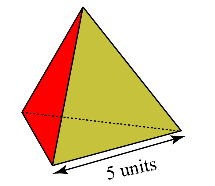 A tetrahedron with edge length 5 units