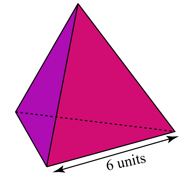 Total surface area of a regular tetrahedron with edge length 6 units