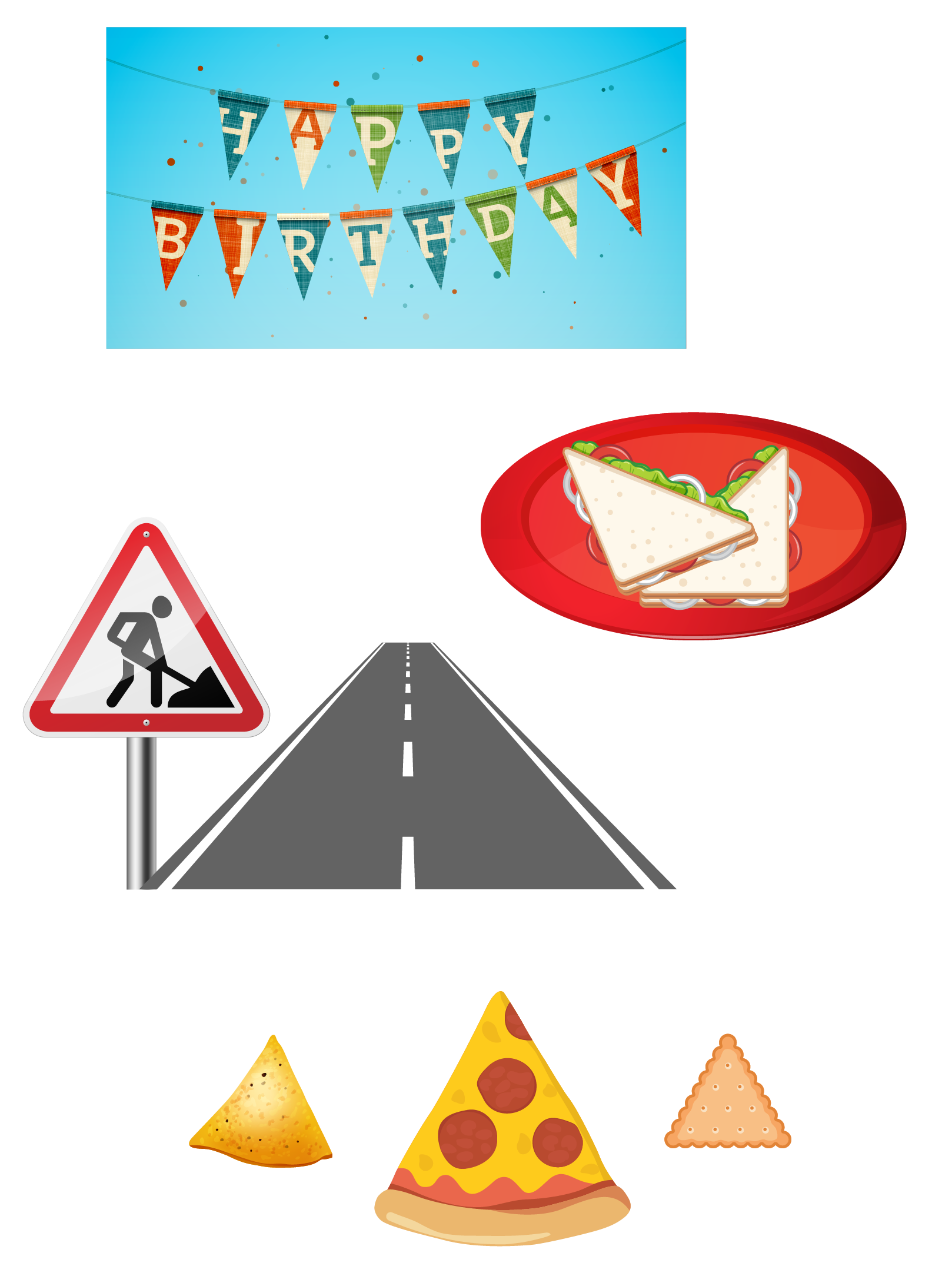 Triangle shapes - sign board, nachos, half sandwich, biscuits, a slice of pizza