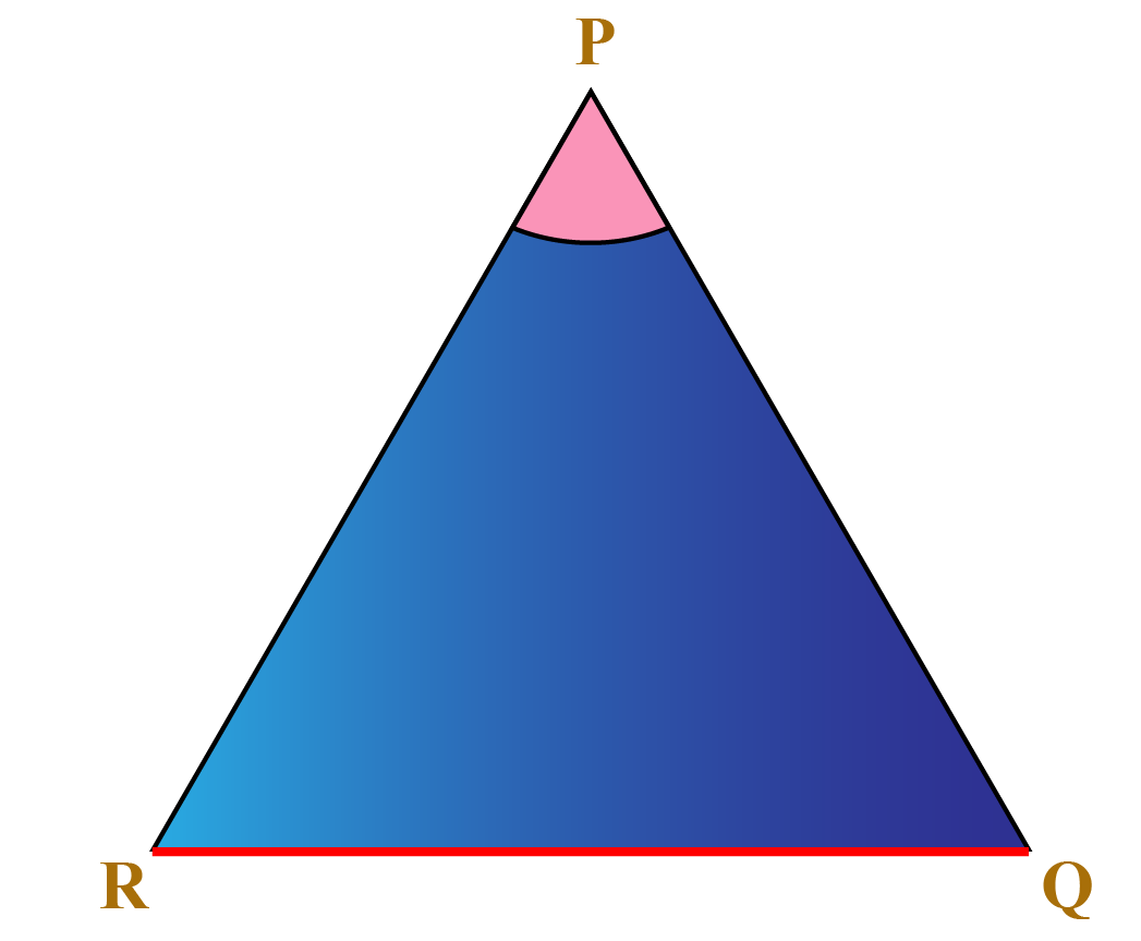 A triangle PQR with vertex and opposite side marked