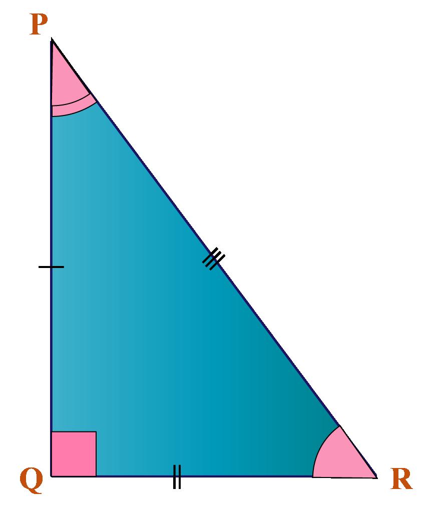 A scalene right triangle PQR
