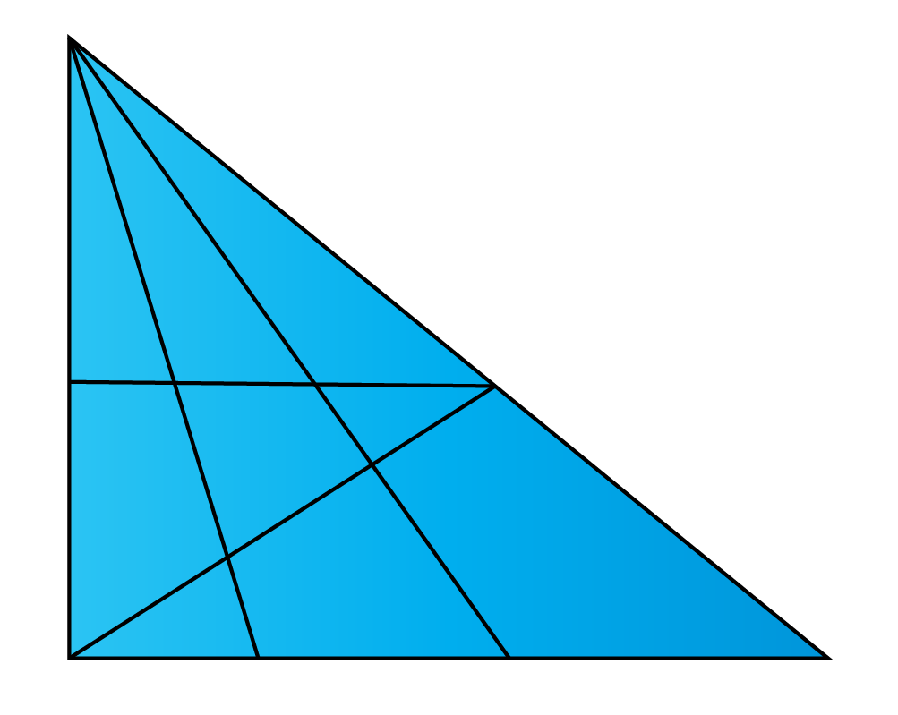 Count the number of triangles in each figure - A triangle with several triangles inside it.