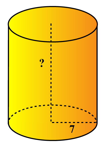 find the height of cylinder  area is 880 sq units and base radius is 8 units