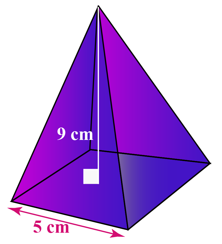 A quadrilateral pyramid with a square base