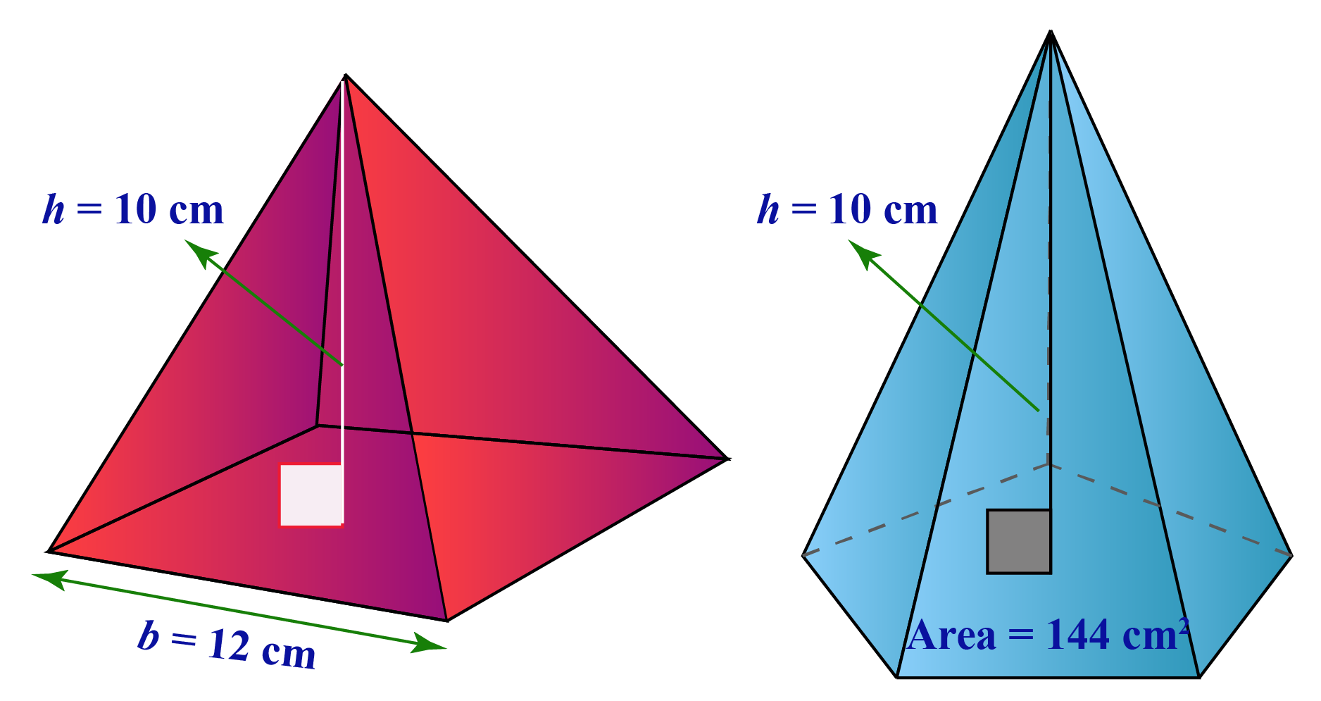 Compare the volume of a quadrilateral pyramid with a square base with that of a pentagonal pyramid